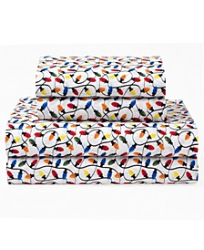 Microfiber Holiday Print King Sheet Set