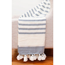 Jenessa Stripe Tassel Knit Decorative Throw