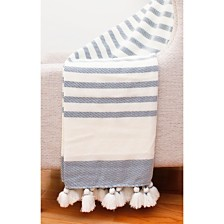 "Jenessa Stripe Tassel Knit Decorative Throw, 50"" X 60"""