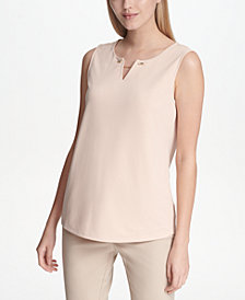 Calvin Klein Split-Neck Chain-Detail Top