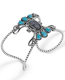 Labradorite and Turquoise Rope Cuff in Sterling Silver