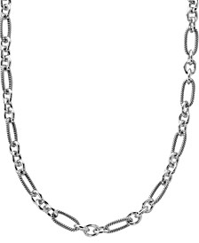 Polished and Textured Oval Links Necklace in Sterling Silver