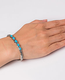 Carolyn Pollack Turquoise Five-Stone Sterling Silver Cuff