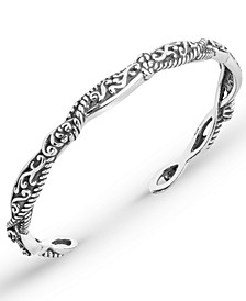 Scroll Rope Narrow Cuff in Sterling Silver