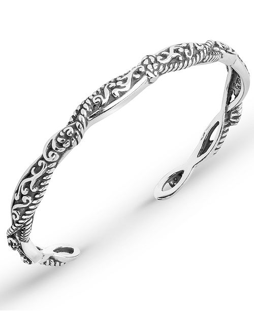 a32edef530d Carolyn Pollack Scroll Rope Narrow Cuff in Sterling Silver ...