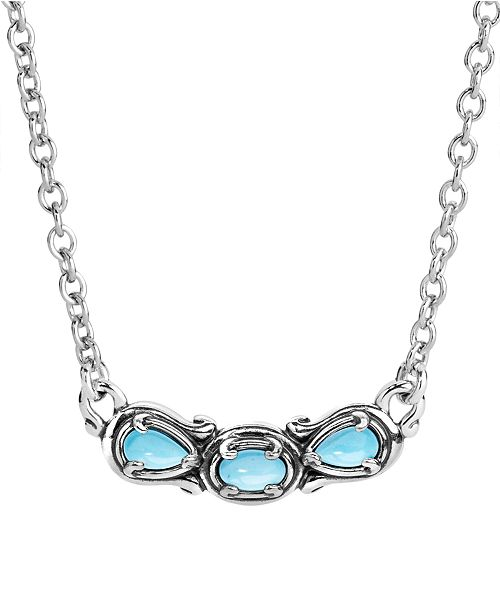 Carolyn Pollack Turquoise Necklace in Sterling Silver