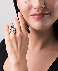Carolyn Pollack Bird and Flower Gemstone Ring in Sterling Silver