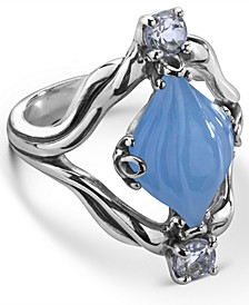 Carved Blue Jade (10x16mm) and White Topaz (1/4 ct. t.w.) Ring in Sterling Silver