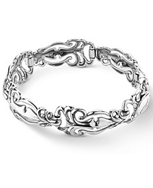 Polished Scroll Link Bracelet in Sterling Silver