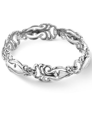 Polished Scroll Link Bracelet in Sterling Silver