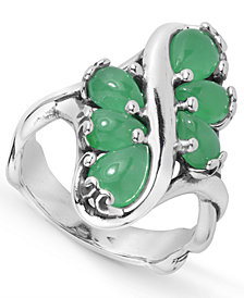 Carolyn Pollack Green Jade Multi Stone Ring in Sterling Silver