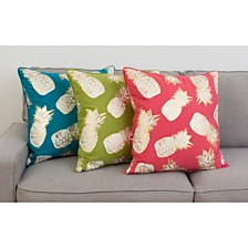 "Thro Feather Fill Saugus Pineapple Raised Foil Printed Pillow, 20"" x 20"""