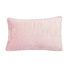 "Thro Polyester Fill Jessie Je T'Aime Pearl Word Barbara Velvet Pillow, 12"" x 20"""