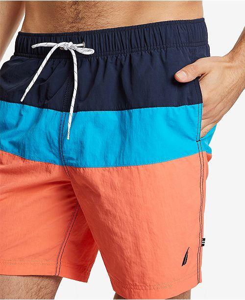 8dc0bc1f22 Nautica Men's 18' Colorblocked Drawstring Swim Shorts & Reviews ...