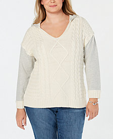 I.N.C. Plus Size Hooded Sweater, Created for Macy's