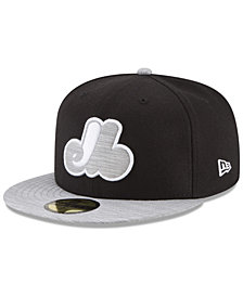 New Era Montreal Expos Black Heather Coop 59FIFTY Fitted Cap