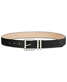 I.N.C. Imitation-Pearl Velvet Belt, Created for Macy's