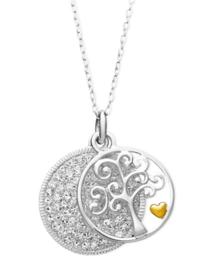 Inspirational Sterling Silver Necklace, Crystal Family Tree Pendant