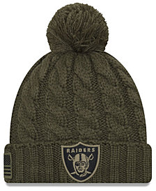 New Era Women's Oakland Raiders Salute To Service Pom Knit Hat
