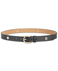 MICHAEL Michael Kors Flower-Studded Leather Belt