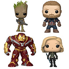 Funko Pop Marvel Avengers Infinity War Collectors Set 2 Groot With Blaster, Captain America, Black Widow And 6 Inch Hulk Buster
