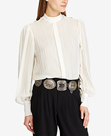 Polo Ralph Lauren Jacquard-Striped Blouse
