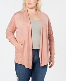 Style & Co Plus Size Faux-Suede Draped-Front Jacket, Created for Macy's