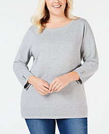 Karen Scott Plus Size Cotton Pointelle Sweater, Created for Macy's