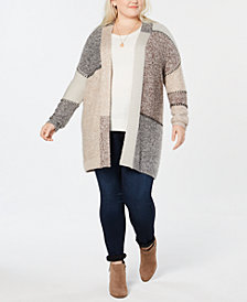 Style & Co Plus Size Patchwork-Look Long Cardigan, Created for Macy's