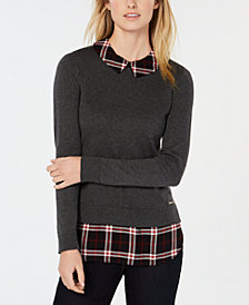 Tommy Hilfiger Plaid Layered-Look Top, Created for Macy's