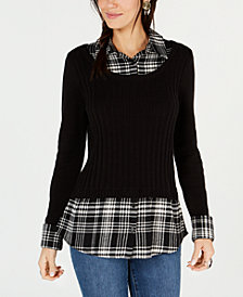 Style & Co Petite Layered-Look Sweater, Created for Macy's