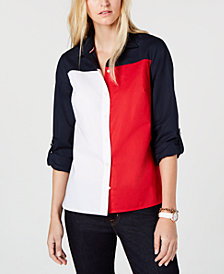 Tommy Hilfiger Cotton Colorblocked Button-Up Shirt, Created for Macy's