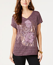 Style & Co Metallic-Print Spacedyed T-Shirt, Created for Macy's