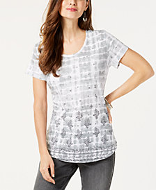 Style & Co Cotton Printed Tie-Dyed Top, Created for Macy's