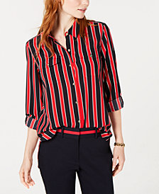 Tommy Hilfiger Striped Roll-Tab-Sleeve Shirt, Created for Macy's