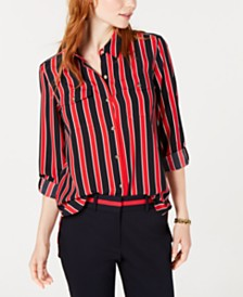 Shirt Met Wc Rol.Tommy Hilfiger Striped Tie Front Shirt Created For Macy S Tops
