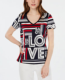 Tommy Hilfiger Love-Print V-Neck T-Shirt, Created for Macy's