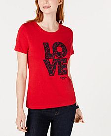 "Tommy Hilfiger Embroidered ""Love"" T-Shirt, Created for Macy's"