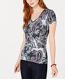 Tommy Hilfiger Paisley-Print V-Neck T-Shirt, Created for Macy's