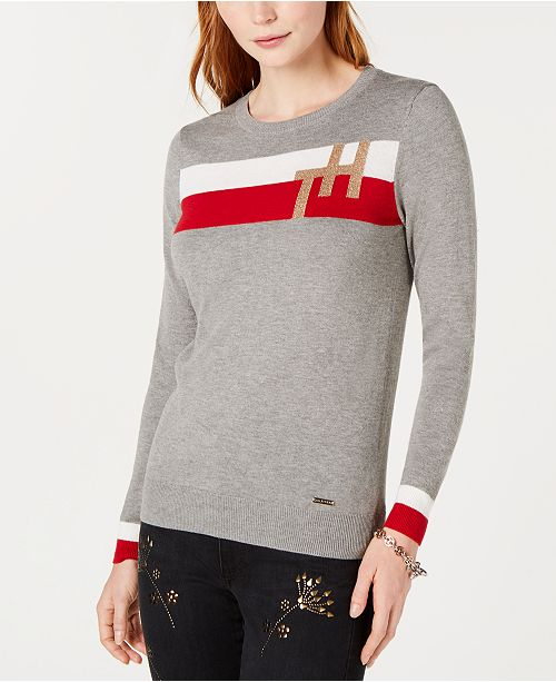 Tommy Hilfiger Colorblock Monogram Sweater Created For Macys
