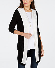 Style & Co Colorblocked Cable-Knit Cardigan, Created for Macy's