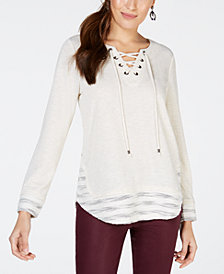 Style & Co Lace-Up Neck Top, Created for Macy's