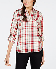 Style & Co Plaid Roll-Tab Shirt, Created for Macy's