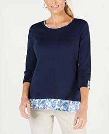 Karen Scott Petite Contrast-Trim Top, Created for Macy's