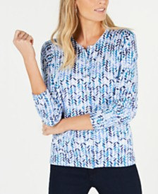 Karen Scott Abstract Print Cardigan Sweater, Created for Macy's
