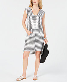 Miken Juniors' Striped Hooded Sleeveless Swim Cover-Up