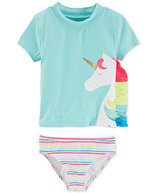 Carter's Baby Girls 2-Pc. Unicorn Rash Guard Set
