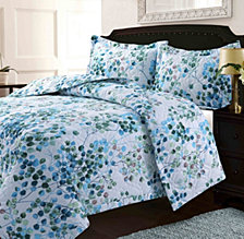 Lyon Microfiber Leaves Printed Oversized Queen Quilt Set