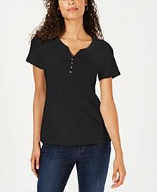 Petite Cotton Henley Top, Created for Macy's