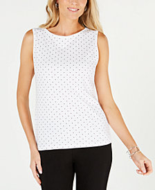 Karen Scott Petite Cotton Dot-Print Boat-Neck Top, Created for Macy's